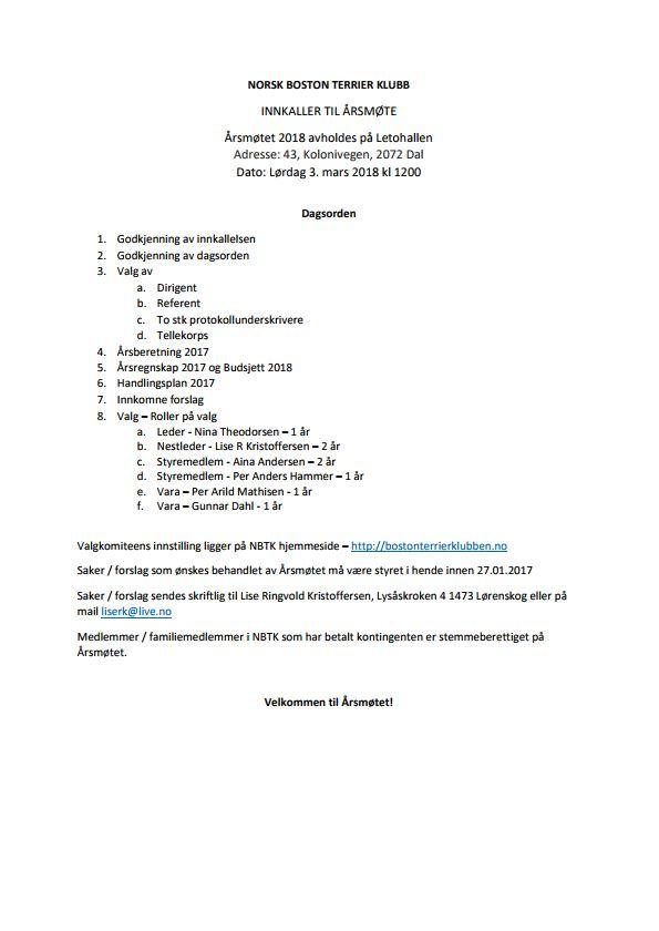 Årsmøteinnkalling 2018