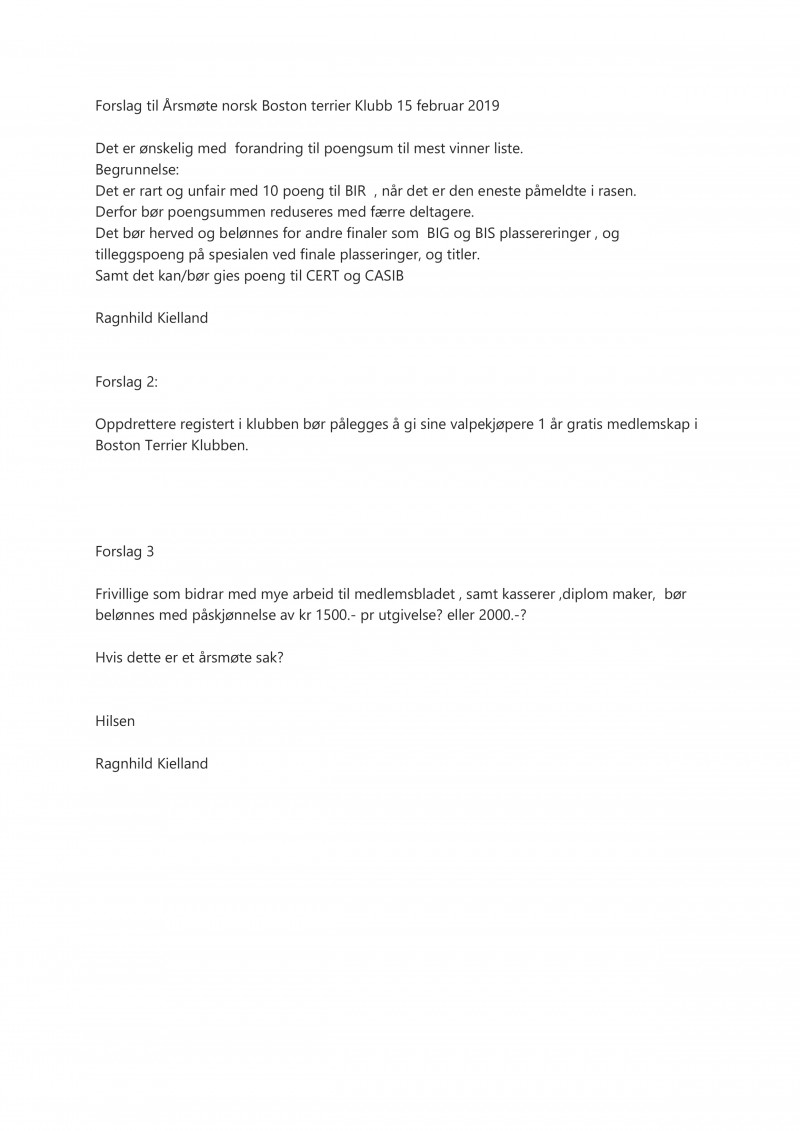 Forslag - Utregning av mestvinnende - Medlemsskap til valpekjøpere - Godtgjørelser